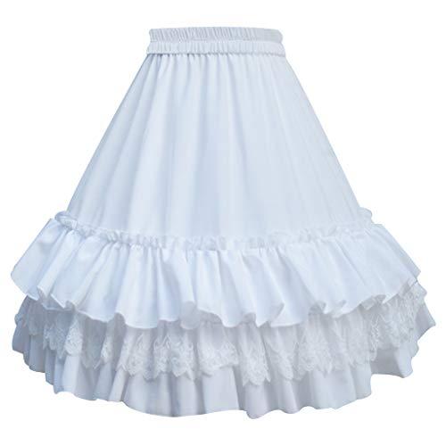 Lamdoo Frauen Mädchen Knielang Kurz Petticoat Tiered Rüschen Spitzenbesatz Pettiskirt 1 Hoop Krinoline Unterrock Abnehmbare Fischgräte