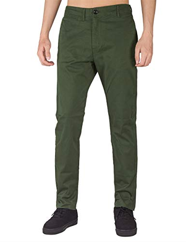 Baumwoll Twill Rock (THE AWOKEN Herren Chino Casual Hose Business Slim Fit Stoffhose Freizeithose (Armeegrün, 30))