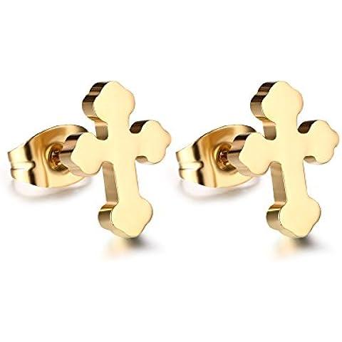 Mealguet Jewelry–Pendientes de cruz gótica, unisex, acero inoxidable, dorados