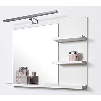 Domtech miroir de salle de bain avec tag res et clairage - Glace de salle de bain avec eclairage ...