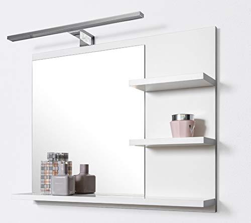 DOMTECH Badspiegel mit Ablagen Weiß mit LED Beleuchtung Badezimmer Spiegel Wandspiegel