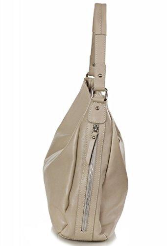 Sachet italien Nappa sac bandoulière en cuir lisse doux (35 x 32 x 11 cm), Colour:Marron (Dark Taupe) Beige