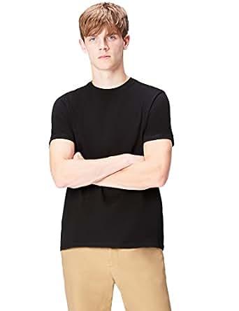 FIND Men's T-Shirt Cotton Paris Panel Back Print Crew Neck, Black (Black 001), Small