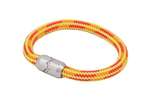Bergseil Armband   Einfachseil Gelb-Orange-Rot Murmeltier mit Magnetverschluss, Reepschnur und 360° Bergpanorama   Bergschmuck von FJELLA