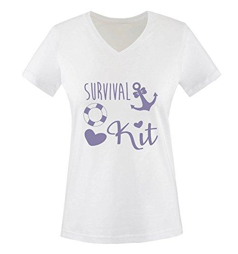 Comedy Shirts - Survival kit Anker - Damen V-Neck T-Shirt - Weiss / Violett Gr. XXL (Anker-kits)