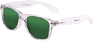 Ocean Sunglasses Beach wayfarer - gafas de sol polarizadas - Montura : Blanco Transparente - Lentes : Verde Espejo (18202.96)