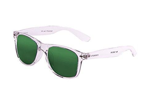Ocean Sunglasses Beach Wayfarer, Occhiali da Sole Polarizzati, Montatura: Bianco Trasparente, Lenti: Verdi Specchiate ,