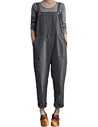 ea3973deca VONDA Women s Strappy Jumpsuits Overalls Baggy Harem Wide Leg Dungarees  Rompers