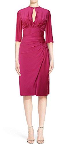MACloth Elegant Half Sleeve Cocktail Dress Knee Length Jersey Formal Party Gown Dark Navy