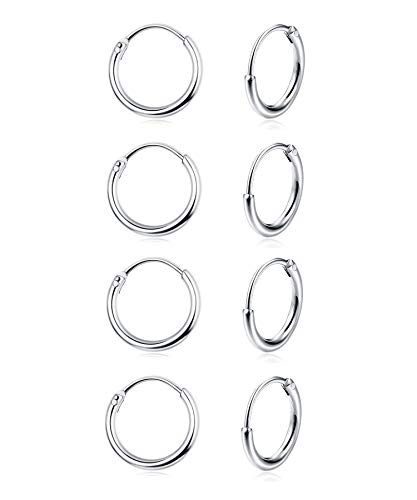Sllaiss 4 Pairs Mini Hoop Earrings 925 Sterling Silver for Women Small Round Endless Hoop Earrings Set 10mm…