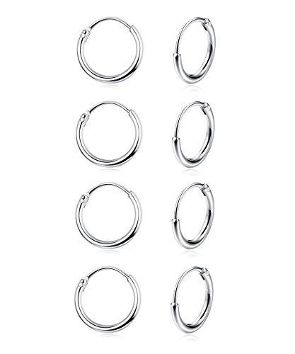 Sllaiss 4 Paar Mini-Creolen 925 Sterling Silber für Damen Frauen klein rund Endlos Creolen Set 10 mm hypoallergen (Creolen Huggy Sterling)