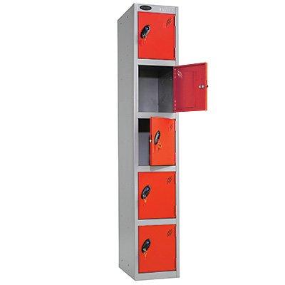 5 Door Metal Storage Locker (Red Door / Silver Body) - Choice of Size & Colour - Ref LK5S/35/RD/SV Test
