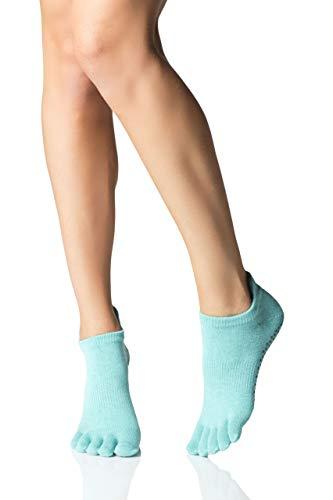 Toesox Full Toe Low Rise Calcetines de Yoga, Unisex Adulto, Azul (Aqua), M
