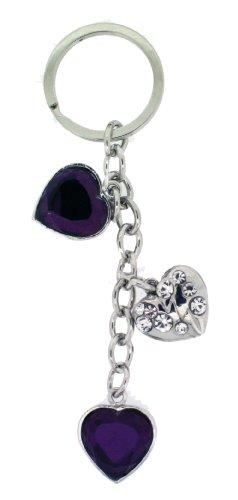 Jodie Rose and Crystal Porte-clefs avec cœurs Violet