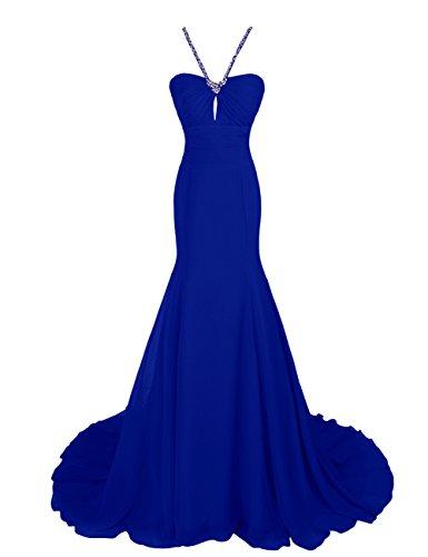 Dressystar Robe femme, Robe de soirée/gala longue à sirène,traîne, en Mousseline Bleu Saphir