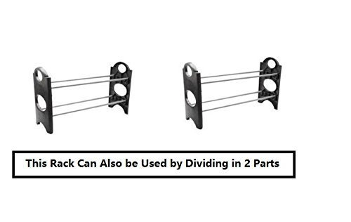 KPMTM Stack-able Black Shoe Rack Organizer