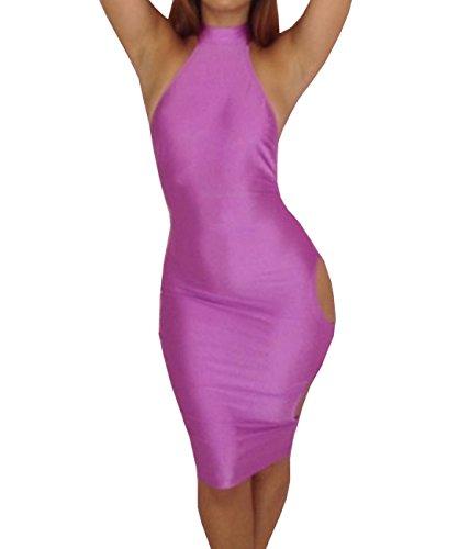 E-Girl Sexy Halter Club Bodycon robe,Violet Violet