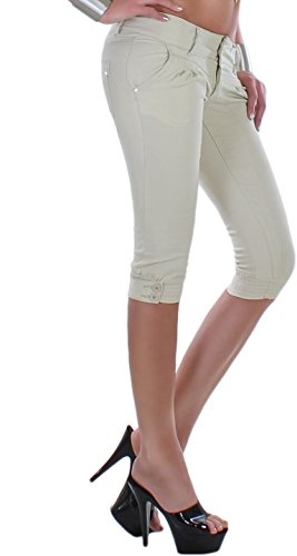 Pantacourt pour femme avec ceinture élastique en bas strassdetail avec boutons de couleurs pastel disponibles en 7 couleurs-xS 34/42/xL Beige - Beige