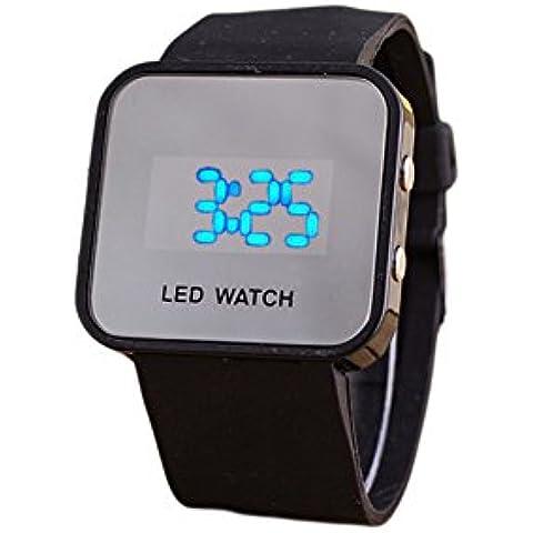 Hosaire 1X Orologio Digitale da Polso Led Blu Unisex Wrist Watch Display Numeri Grandi Ideale anche per Anziani e Bambini,Cinturino nero - Quadrante Blu Unisex