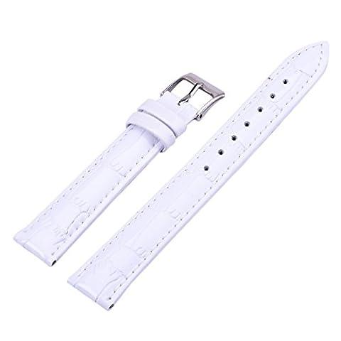 12/14/16/18/20/22 mm Bracelet de Montre Homme Femme Rechange en PU Cuir Blanc Watch Strap Band