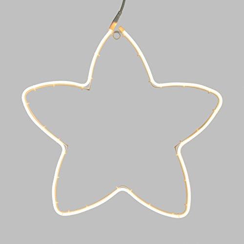LuminalPark Leuchtfigur Stern Neon Ø 58 cm, 240 LEDs warmweiß, Dauerlicht, Kabel weiß, außen