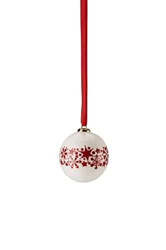 Hutschenreuther 02478–725918–27937 Merry Christmas Nordic Red Petit boule porcelaine étoile Bande Diamètre 6 cm, Porcelaine, Rouge, 7 x 7 x 9 cm