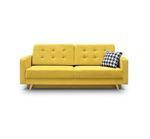 Schlafsofa Kippsofa Sofa mit Schlaffunktion Klappsofa Bettfunktion mit Bettkasten Couchgarnitur Couch Sofagarnitur - CARLA (Gelb)