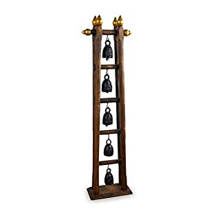 livasia Chime of bells, Asian bronze bells with elephant carvings, beautiful home accessories, Handmade in Thailand