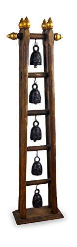 livasia Asiatisches Glockenspiel mit 5 Glocken Bronze Teakholzständer (Handarbeit)