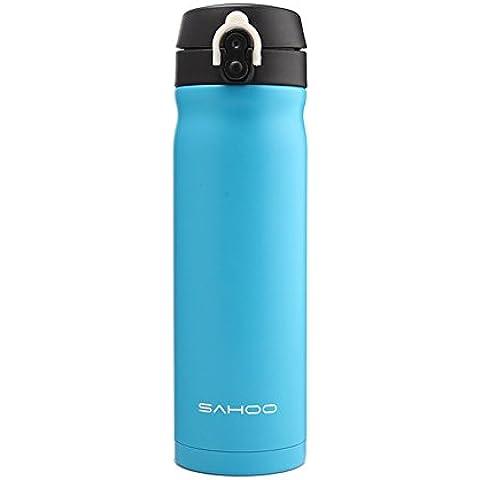 PYl Vuoto Thermos Acciaio Inossidabile Portatile Boccetta Potabile Calda o Fredda Bottiglia D'acqua Adatto per Ciclismo Escursionismo Viaggiante Outdoor Sport Invernali 450ml Blu