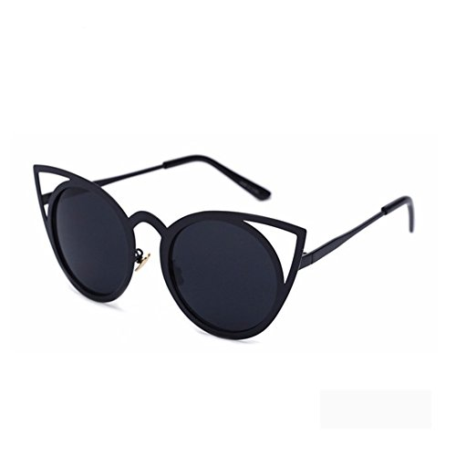 Dollger Damen Klassiker Katzenauge Runde Sonnenbrille(Schwarze Linse+Schwarzrahmen)