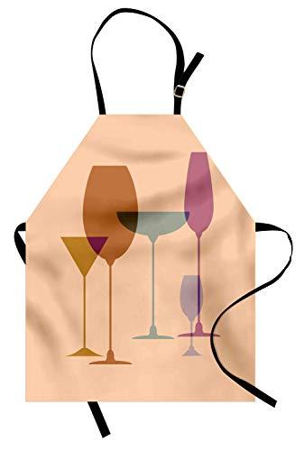 Merlot Schürze, Weingläser Silhouette Martini Glas Korn Look Print, Unisex-Küche Latzschürze mit verstellbarem Hals zum Kochen Backen Gartenarbeit, Pfirsich Amber getrocknete Rose und dunkle Eierschal