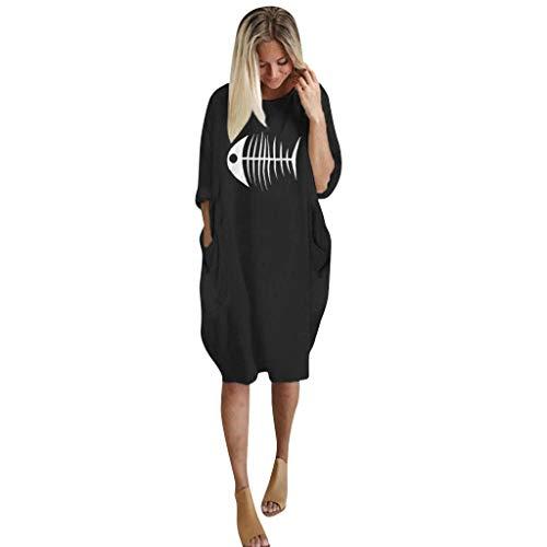 VEMOW Strandkleider Knielang Damenmode Tasche Lose Kleid Damen Rundhalsausschnitt beiläufige Tägliche Lange Tops Kleid Plus Größe Mode für Mollige Frauen(C-Schwarz, EU-42/CN-S) (Kreativ Billig Paare Kostüm)