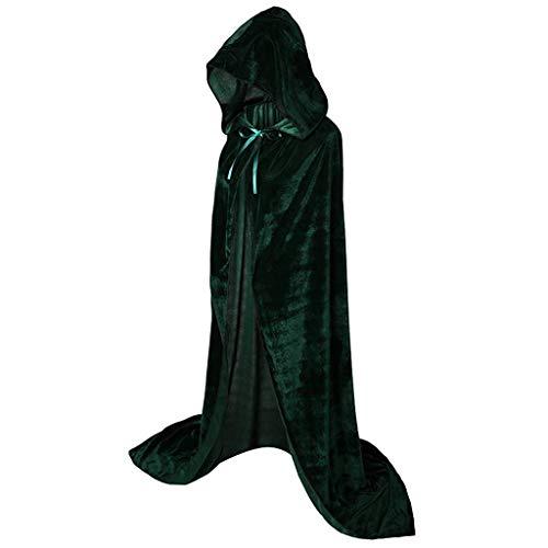 Kostüm M&m Für Vorlage M - INLLADDY Umhang mit Kapuze Lange Cape Vampir Kostüm Halloween Erwachsener Unisex Grün M