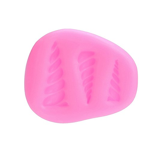 Gyrate - Mini molde de unicornio para decoración de tartas y pasteles, diseño de orejas de cuerno y flores Pink01