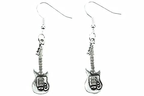Electric Guitars Earrings Miniblings Guitar Earrings Band Superstar Music Silver