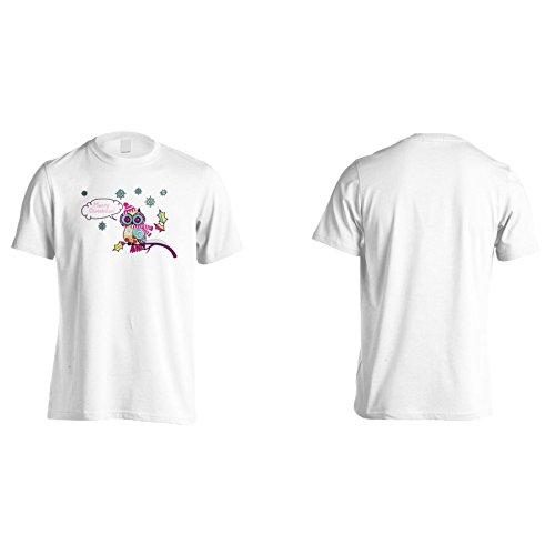 Nuovo Gufo Natale Carino Uomo T-shirt l531m White