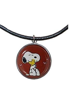 Pendentif en acier inoxydable, 30 mm, cordon en cuir, fait à la main, illustration Snoopy 2
