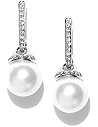 Shining Diva Fashion 18k Gold Plated Pearl Drop Earrings For Girls And Women