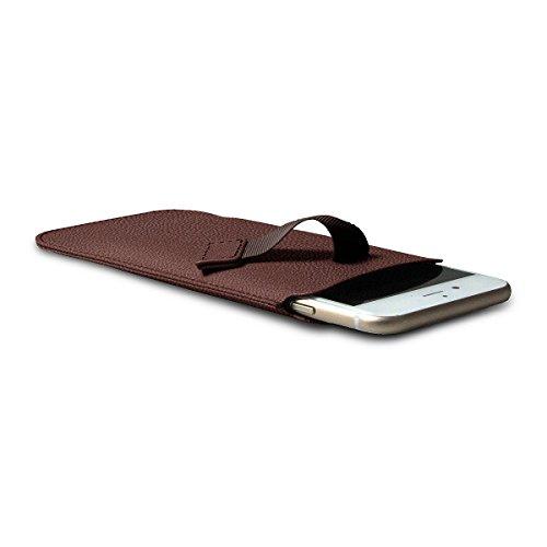 Lucrin - Etui avec languette pour iPhone 8/7/6/6s - Gris Souris - Cuir de Chèvre Moka