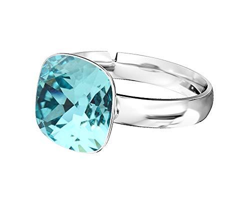 Crystals & Stones 925 Silber Ring *SQUARE* *VIELE FARBEN* Swarovski Elements - 925 Sterling Silber Damen Ring Größe Verstellbar (Türkis)