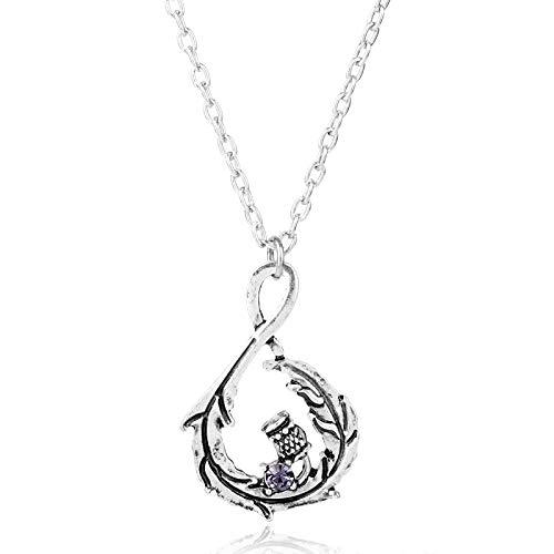 Outlander Scottish National Flower Purple Crystal Pendant Necklace Oval Scotland Thistle Necklace Leaf Schmuck Gift Purple Thistle