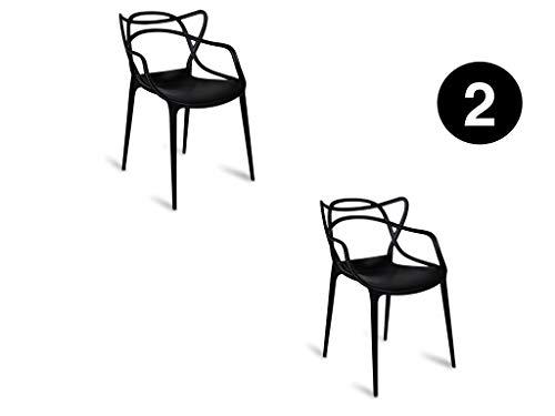 2 Schwarze Stühle (IBH DESIGN 2Stück Stühle Miami-schwarz-Inspiriert Starck Masters)