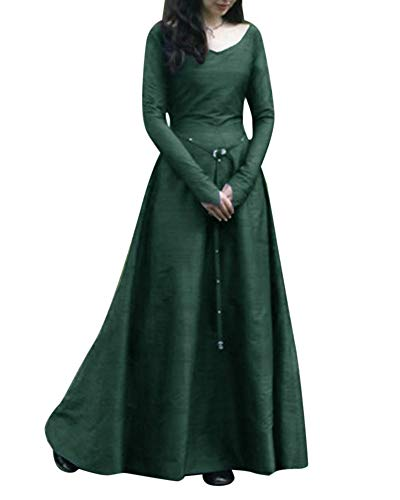 Kostüm Übergröße Cinderella - Liangzhu Frauen Vintage Mittelalter Cosplay Kostüm Langarm Kleid Prinzessin Gothic Übergröße Kleid Grün XXXXXL