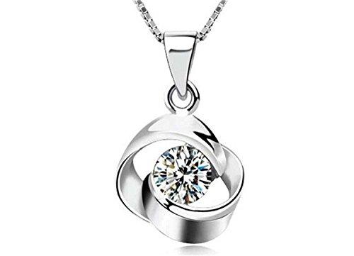 Lantch Collar de Plata 925 con la Cristal de Flor Elegante Joya para Mujer, Simboliza el Amor Eterno