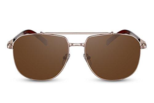 Cheapass Sonnenbrille Gold Braun Getönt UV-400 Groß Rund Retro Metall Damen Herren
