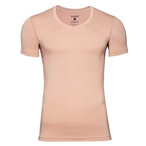 SAPREZA Business-Herren-Unterhemd in Hautfarbe, mit V-Ausschnitt, Männer-Unterhemd Unsichtbar aus Stretch-Micromodal Classic, M -