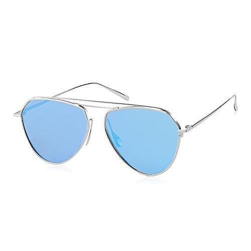 Komny Pink Fashion Trendsetter Sonnenbrille weiblichen Star Gläser Gesicht Individualität Candy Farbe transparent Sonnenbrille einen silbernen Rahmen [Objektiv]