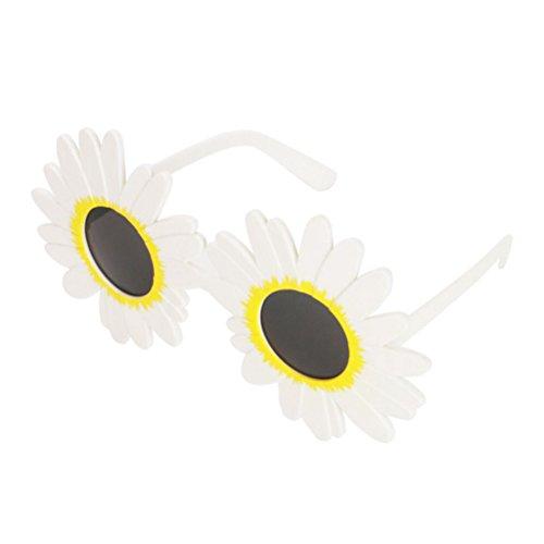 Kostüm Dance Strand - BESTOYARD Funny Weiß Daisy Blume Kostüm Brille Hawaii Dance Sonnenbrille für Sommer Strand Partyzubehör