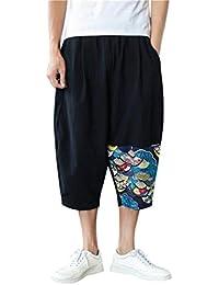 Hommes Pantalon Sarouel Jogging Short Bermuda, QinMM Bas Crotch Harem Capri  Pantalon Baggy Coton Linen 579769dd5fb4